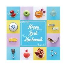 Laeacco Rosh Hashanah Party Delicious Shofar Honey Pomegranate Photography Backgrounds Photographic Backdrops For Photo Studio