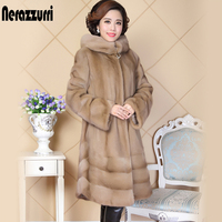 Пальто из натурального меха норки для женщин, Китай, длинный рукав, с капюшоном, натуральный, русский, норковые пальто с большим капюшоном, ж