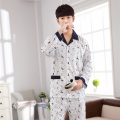 Spring and autumn new men 's cotton pajamas XL Men' s long - sleeved suit at home young men 's pajamas