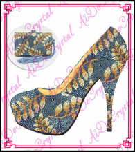 Aidocrystal blackish green and gold leaves crystal lady party shoes and font b bag b font