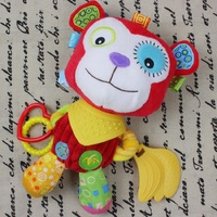 0M+ Soft Baby Plush Toy Cartoon Monkey Soothe Teether Rattle Doll Stroller Crib Bed Hanging Toy