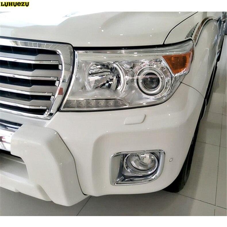 Luhuezu Chrome Front Fog Lamp Cover Trim Rear Fog Light Cover For Toyota Land Cruiser V8