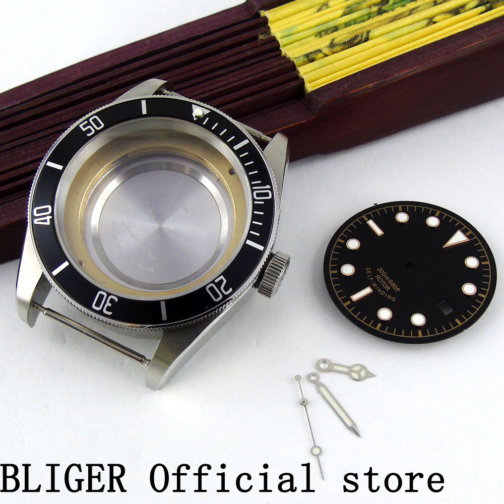 Sapphire Glass 41MM Black Bezel Stainless Steel Watch Case+Hands+Dial Fit For MIYOTA 8215 8205 821A Automatic Movement Sapphire Glass 41MM Black Bezel Stainless Steel Watch Case+Hands+Dial Fit For MIYOTA 8215 8205 821A Automatic Movement