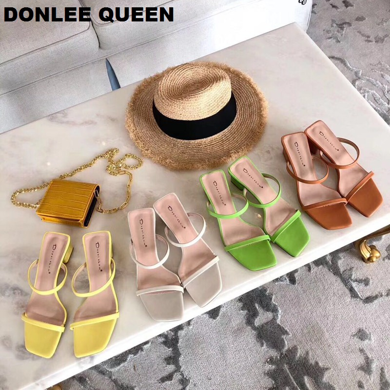2019 New Summer Slippers Low Heel Slides Female Peep Toe Square Heel Slipper Brand Sandal Vacation Flip Flops Zapatos De Mujer