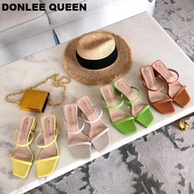 Купить с кэшбэком 2019 New Summer Slippers Low Heel Slides Female Peep Toe Square Heel Slipper Brand Sandal Vacation Flip Flops zapatos de mujer
