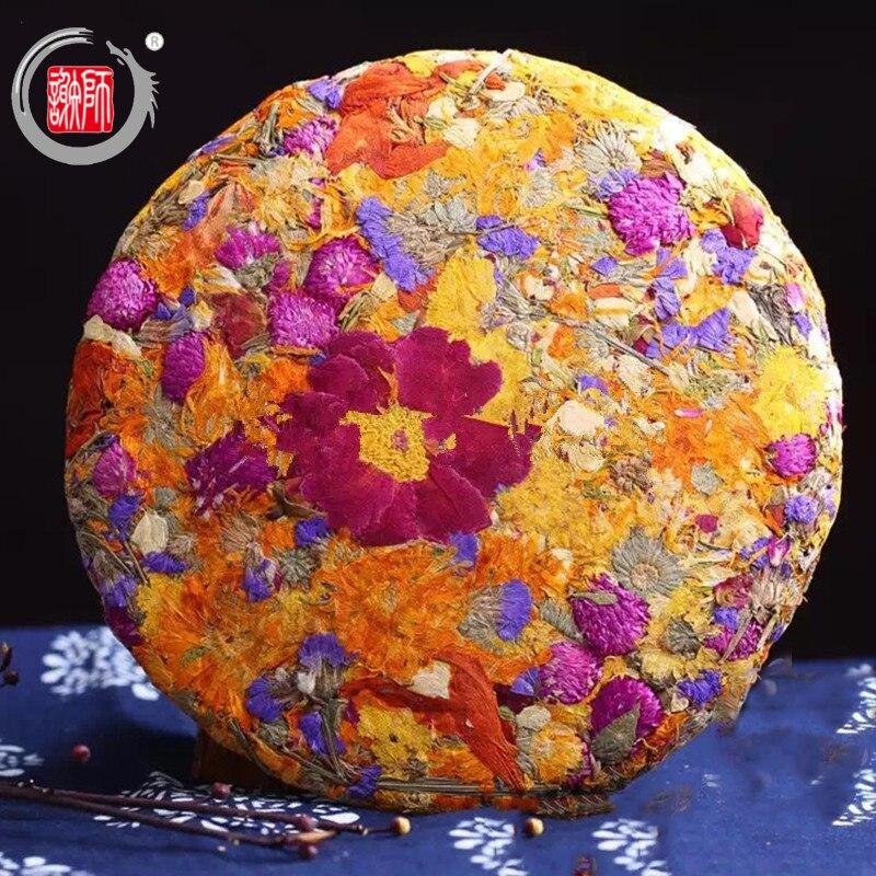 Chá da flor de Beleza Rosas Flor Artesanal Bolo Para Baixo Três Luz Clew Decotolification Meninas Como 200g Puer Chá
