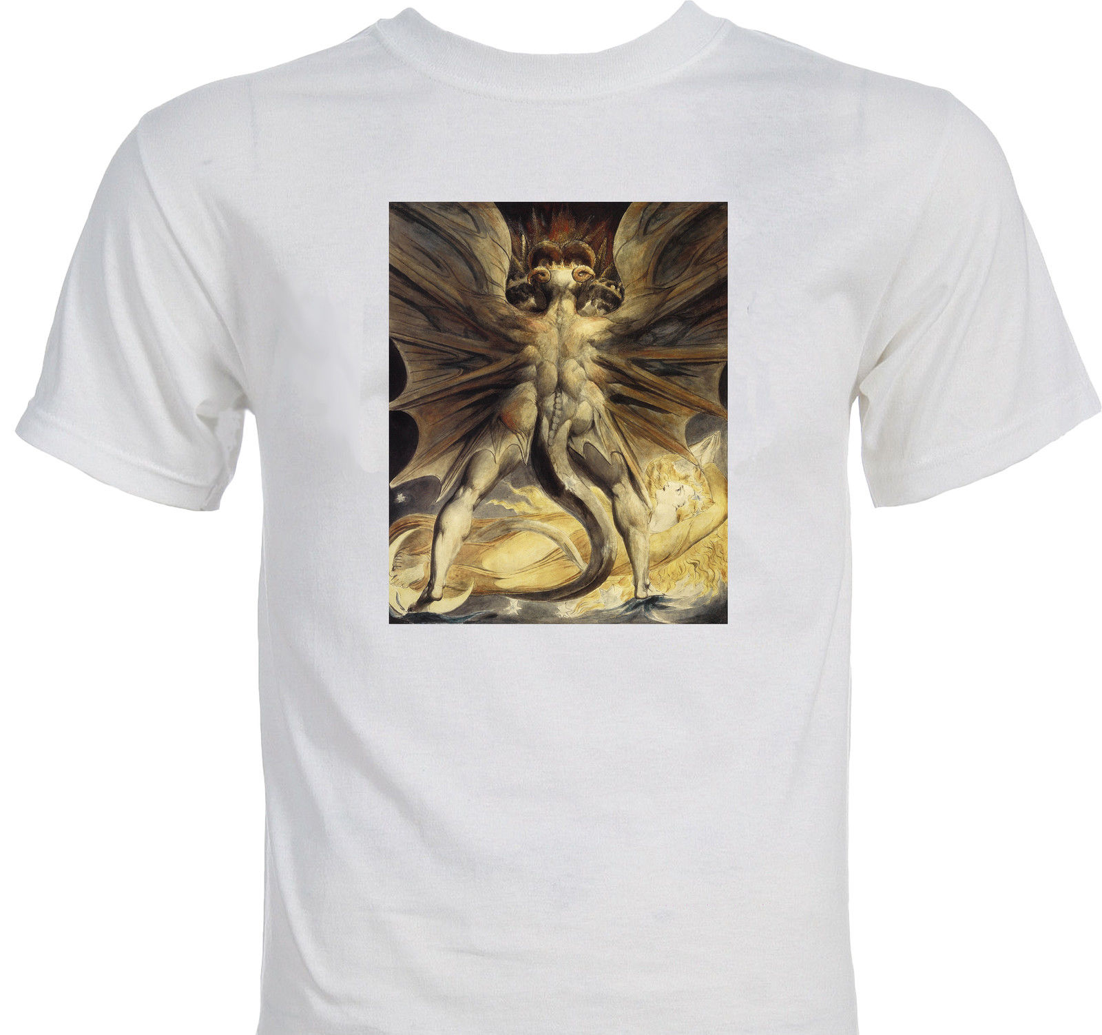 "William Blake ""Dragon and the Woman Clothed in Sun"" Mystical New Age T-shirt Cool Casual pride t shirt men Unisex Fashion"