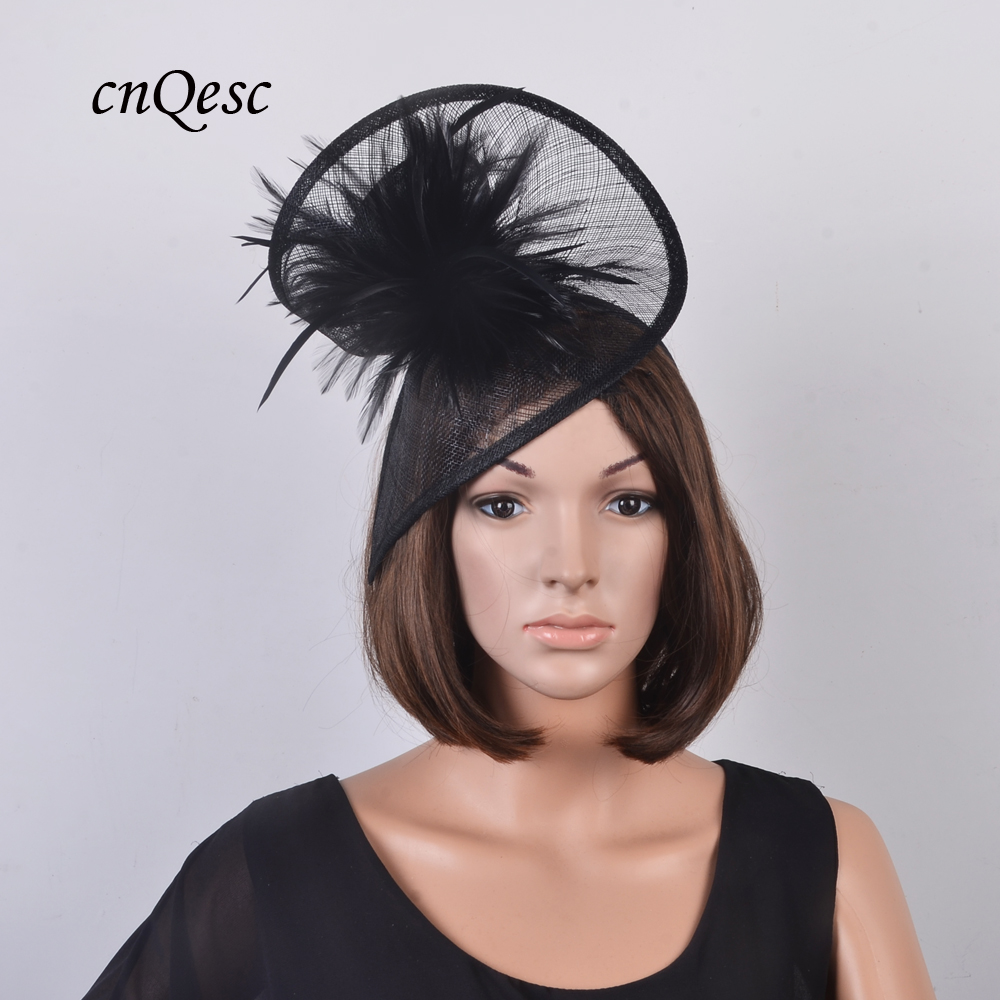 New BLACK church hat Sinamay fascinator bridal headpiece with feather flower for Ascot Kentucky Derby wedding