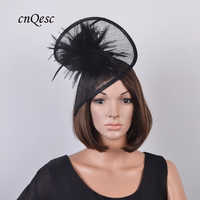 New BLACK church hat Sinamay fascinator bridal headpiece with feather flower for Ascot,Kentucky Derby,wedding,party