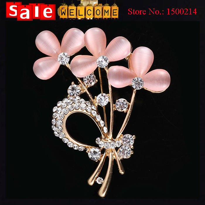 Gold Plated Luxury Opal Crystal Rhinestone Long Brooch Pin Leaf Bridal Wedding Bouquet Crystals Costume Suit Dress Hat Jewelry