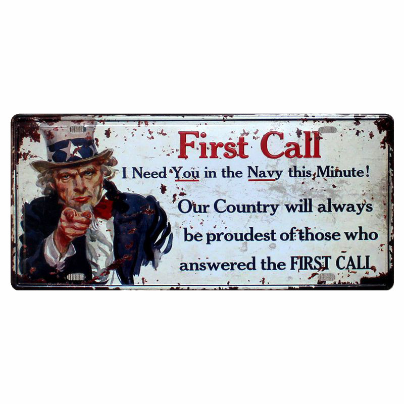 First Call Celebrity Vintage Plaque Metal Decorative License Plates Art Decor Poster for Cafe Bar Pub Home I Want You Signs N122