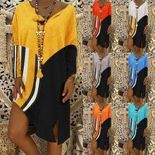 Women Fashion 2019 Casual Striped V-Neck Dress Beach Summer Long sleeve Splice Split Large Size 3XL T-shirt Lady Dress Vestidos split striped tape sleeve t shirt