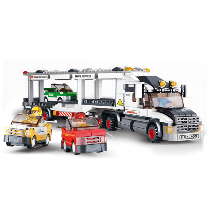 B0339 SLUBAN City Carrier Vehicle Transport Truck Model Building Blocks Enlighten DIY Figure Toys For Children Compatible Legoe sluban 2500 block vehicle maintenance repair station 414pcs diy educational building toys for children compatible legoe