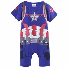 Baby Boys Halloween Costume Infant Captain America Romper Jumpsuit Newborn Cosplay Playsuit Outfit Toddler The Avengers Clothes(China)