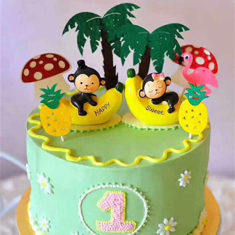 Cupcake muñecas mono fiesta mono cupcake toppers 1 er cumpleaños niño regalo fiesta suministros feliz mono juguete pastel topper