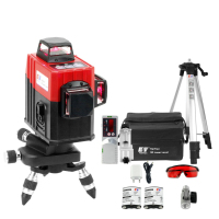 3D Laser/Level 12 Lines Receiver Cross Vertical Beam Horizontal 360/Rotary/Self Leveling/Tripod/Construction/Laser Tool