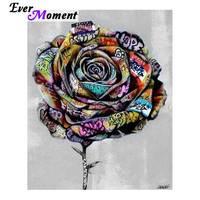 5d Diamond Bead Painting Kits Diamond Painting Stitch Rose Flower With Letters Wall Painting Embroidery Art