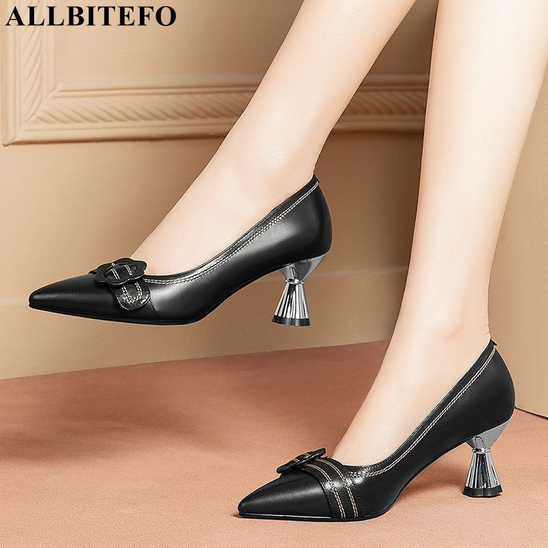 ALLBITEFO EURO Size 34-42 Soft Genuine Leather High Heel Shoes Women Heels Shoes Woman Pointed Toe Fashion Girls Sexy High Heels