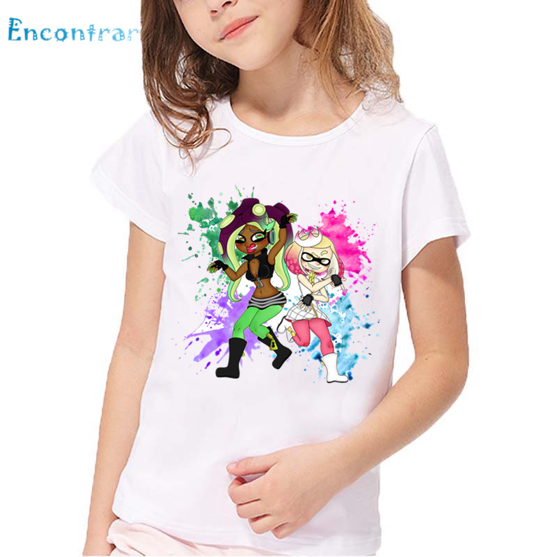 Children Cartoon Splatoon Inkling Print Funny T shirt Kids Summer Short Sleeve Tops Baby Girls and Boys Cute Clothes,HKP5190 2018 kids girls clothes set baby girl summer short sleeve print t shirt hole pant leggings 2pcs outfit children clothing set