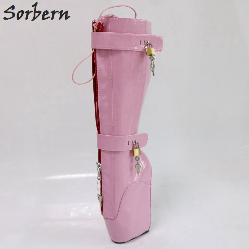 dac83169ab Sorbern lockable red back open zip knee high boots lady heavy hoof ...