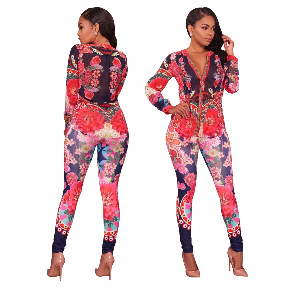 Women Long Sleeve Floral Print Suits Sexy Bodycon Pants