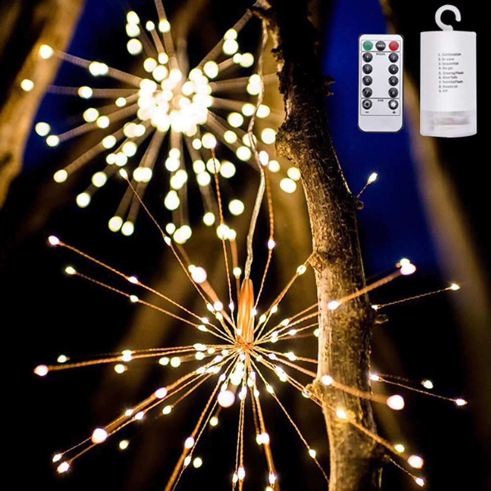 200 LED String Lights Firework Decorative Fairy Lights Holiday Christmas Party Wedding Garden Lights Outdoor Lamps Christmas