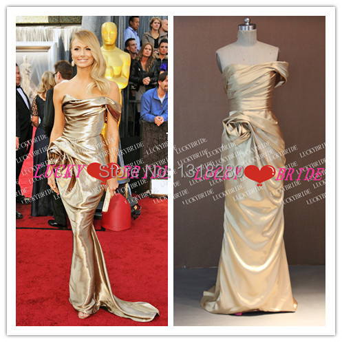 d46811656f8 CE27 Cannes Film Festival Lively One Shoulder Mermaid Flower Fitted Gold Stacy  Keibler 2017 Oscar Dress
