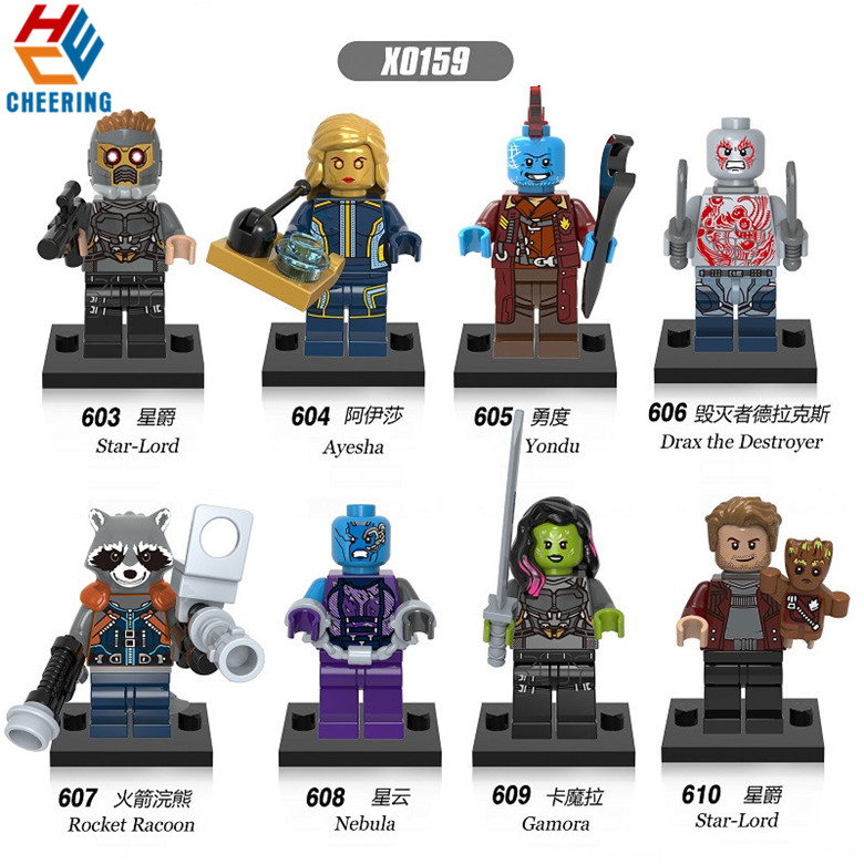 Single Sale Super Heroes Building Blocks  Guardians Of Galaxy Nebula Gamora Yondu Drax Deatroy Children Toys Kids Gift X0159