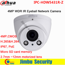 Original Dahua 4MP WDR IR Eyeball Network Camera 1/3″ H.265&H.264 2.7mm ~12mm motorized lens PoE ip camera IPC-HDW5431R-Z