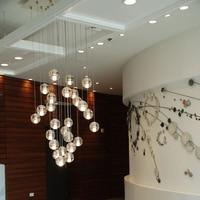 Modern Crystal Chandelier LED Hanging Lighting Large Big Globe Orb Glass Chandeliers Luxury Staircase Cristal Chandelier Lamp