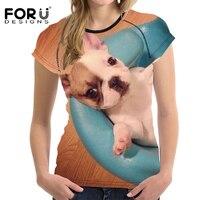FORUDESIGNS 2017 Summer Women T Shirt 3D Bulldog Animal Woman Tops Tshirts Elastic Breath Female Shirt