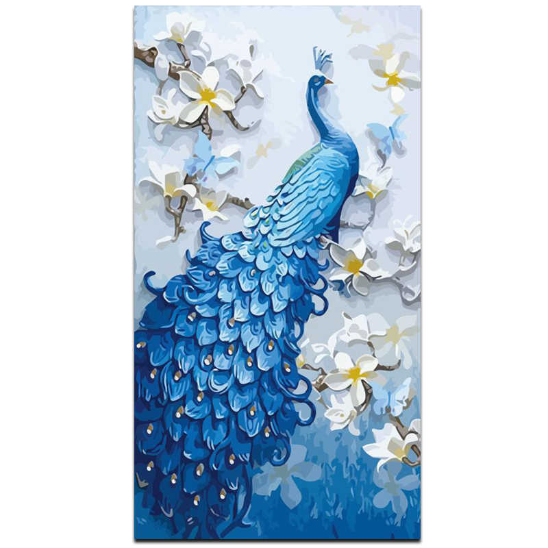 CHENISTORY Frame Peacock DIY Painting By Number Modern Wall Art Picture Animal Oil Painting On Canvas For Living Room 60x120cm