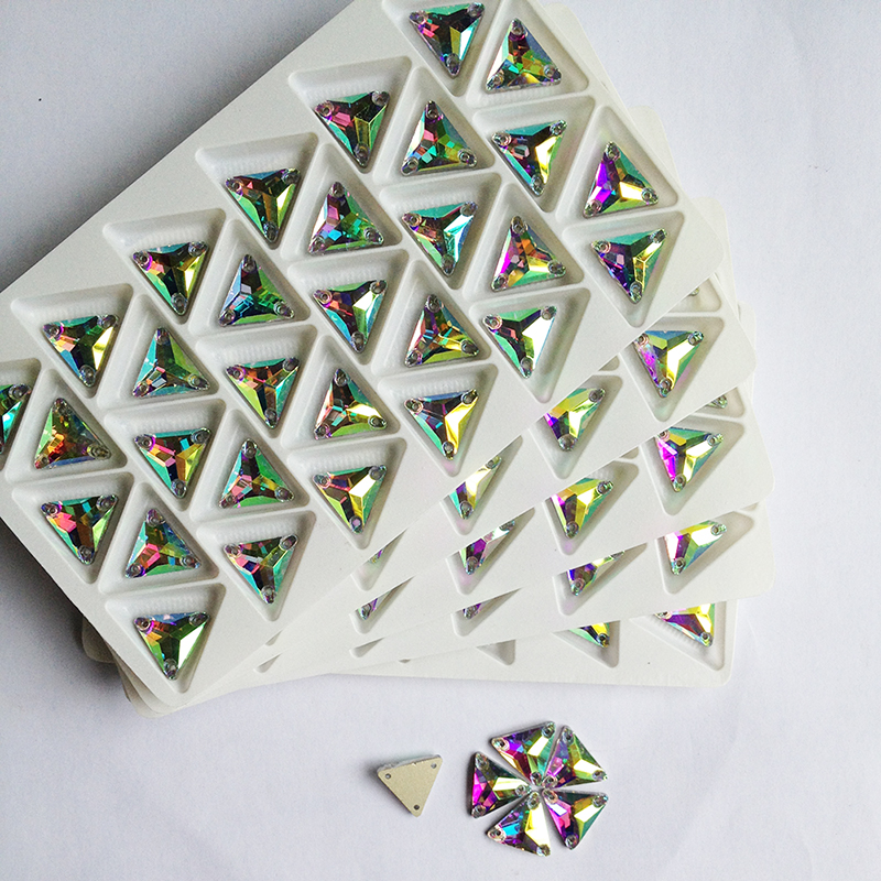 ᐅ16mm triángulo de cristal rhienstone 120 unids Cristal AB color ...