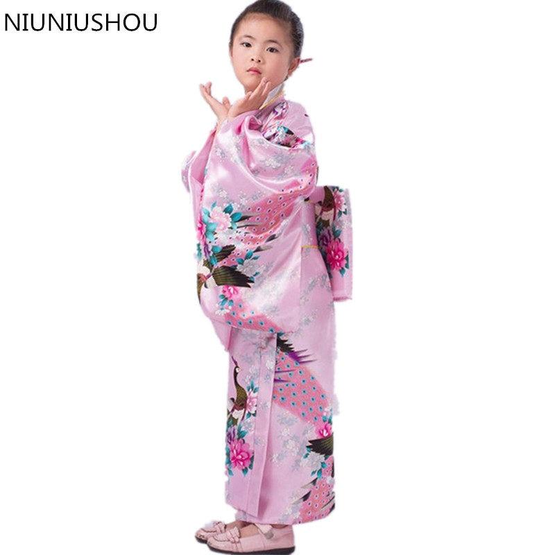 Child Novelty Cosplay Floaral Dress Japanese Baby Girl Kimono Dress  Children Vintage Yukata Kid Girl Dance a4a235e79919