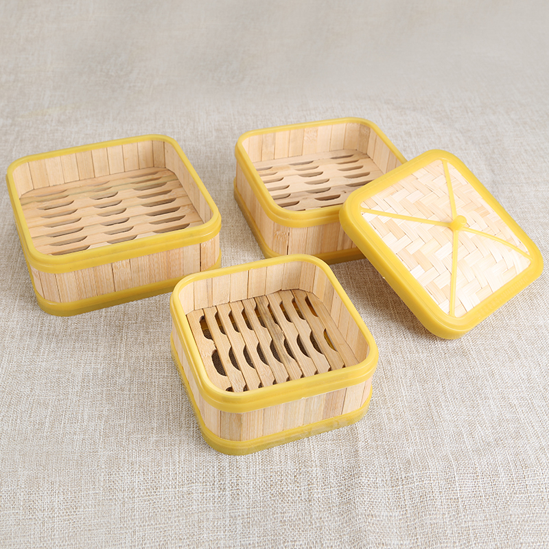 Chinese Cookware Handmade Square Rubber Edge Bamboo Steamer Cage Drawer Small Household Cover Lid Canton Morning Tea Restaurant