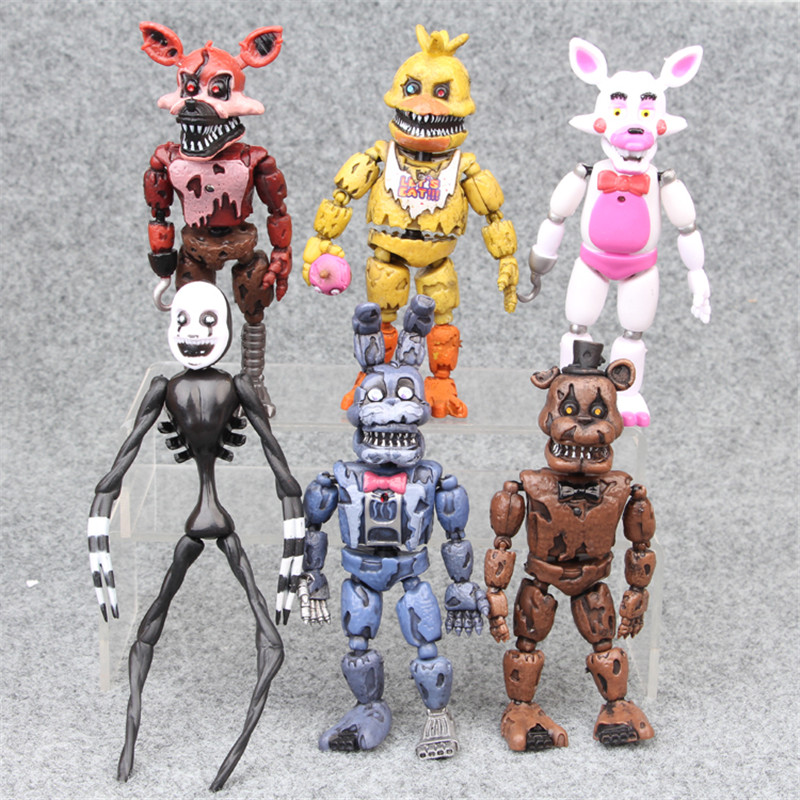6pcs/set At Freddy's Five Nights PVC Action figure 17cm Bonnie Foxy Freddy toys 5 Fazbear Bear Doll baby toys for Christmas gift-in Action & Toy Figures from Toys & Hobbies