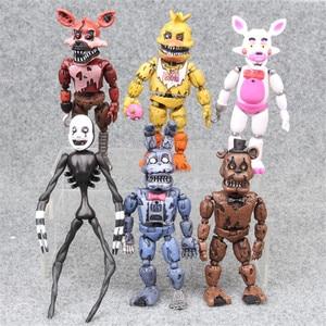 Image 1 - 6pcs/set At Freddys Five Nights PVC Action figure 17cm Bonnie Foxy Freddy toys 5 Fazbear Bear Doll baby toys for Christmas gift