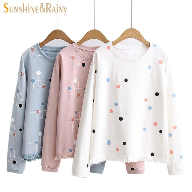 Mulheres outono inverno dos desenhos animados dot T-Shirt bordado Solto Camisa borla T das senhoras branco quente pote cinza bordado hoodies tops