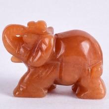 Natural stone Elephant Figurine aventurine craft mineral Crystal elephant Mini Animal Statue chakra home Decor accessory 2 inch