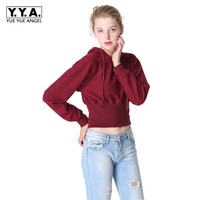 Women Casual 2019 Short Cropped Hoodie High Waist Kpop Sweatshirts Girls Long Sleeve Slim Fit Female Top Cotton Comfort Pullover
