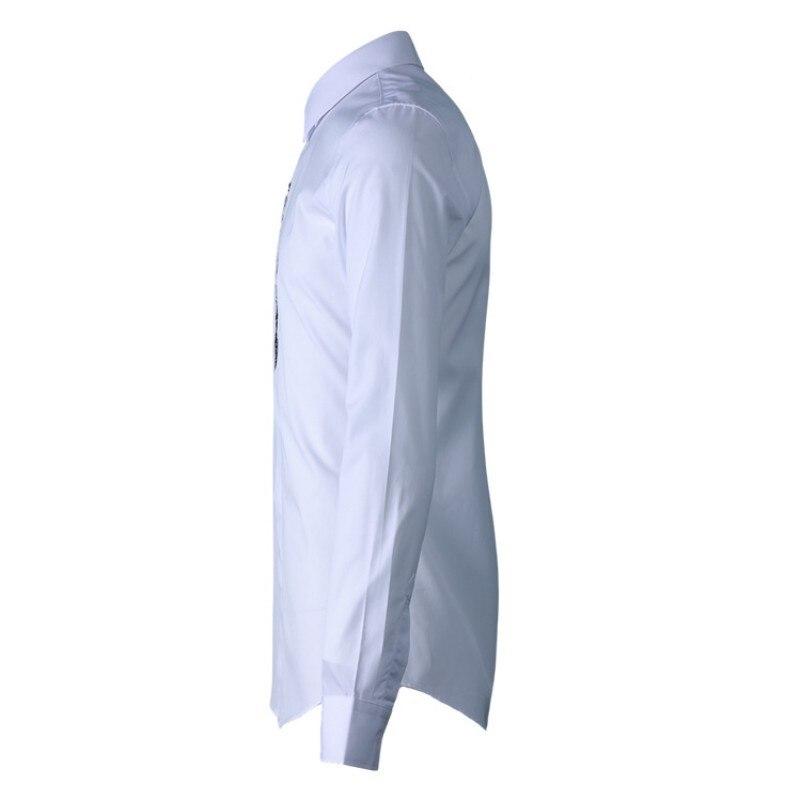 Nouveau hommes vêtements gothique brodé hommes chemise Simple mode fleur classique homme chemise blanc noir décontracté mâle haut 38 42 - 3