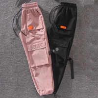 Outono streetwear bordado calças de carga harajuku bf solto grande bolso hearm calças de cintura alta calças femininas soltas