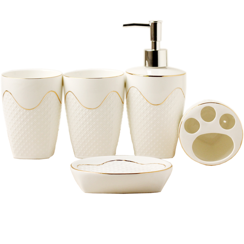 European-style relief Sanitary Ware five sets of wash sets bathroom supplies suite mouthbaths ceramic bathroom supplies