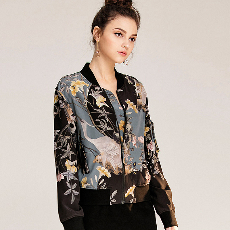 95c1a88187f783 Aliexpress.com   Buy High Quality 100% Silk Jacket Women Lightweight Fabric  Printed Long Sleeves Casual Bomber Coat Fashion Style New Fashion 2017 from  ...