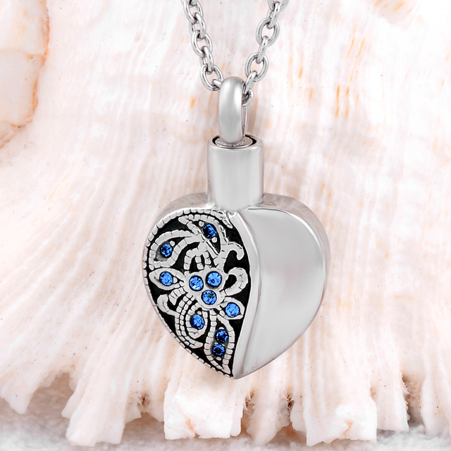 Heart Shaped Ashes Holder With Blue Crystals