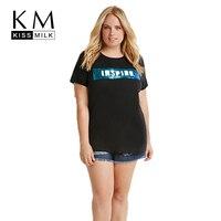 Kissmilk Plus Size 2017 Women Fashion Black Cotton T Shirt Short Sleeve Letter Print T Shirt