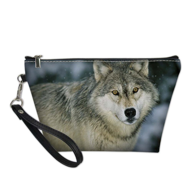 Noisy Designs Functional Cosmetic Bags for Women Wolf Pattern Make Up Bag Makeup Travel Organizers Pouch Box Toiletry Wash Bag