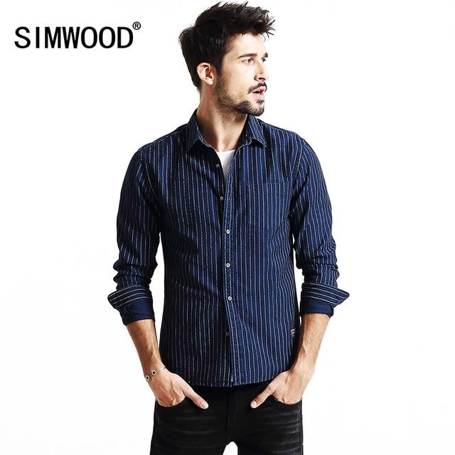 Simwood Hombres Raya de La Manera Da Vuelta-abajo Solo pecho Manga Completa Camisa Que Adelgaza CS1557