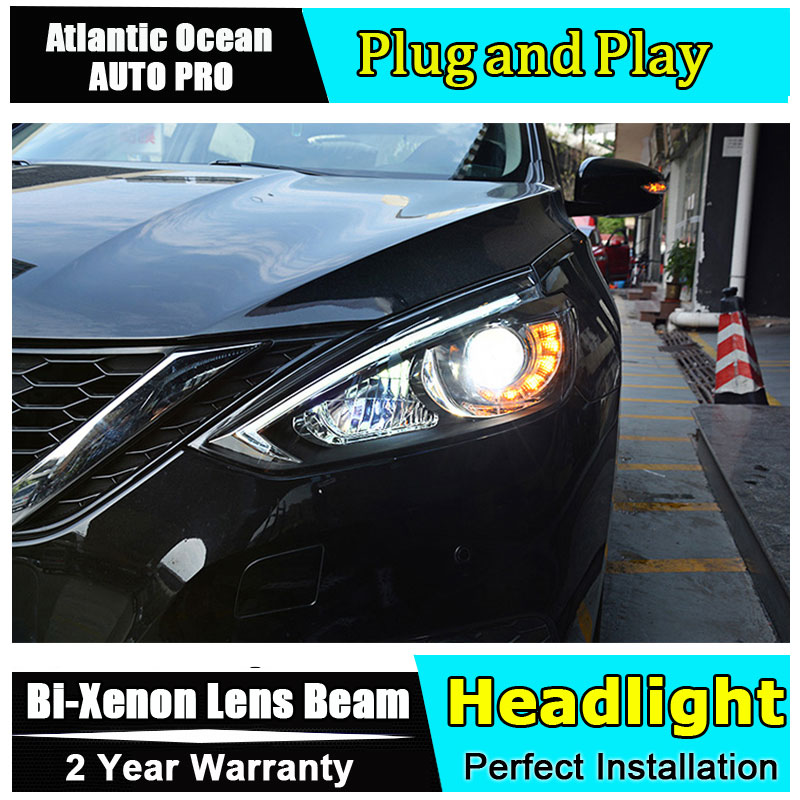 Auto part Style LED Head Lamp for Nissan Sylphy Sentra led headlight 2015 for Sentra drl H7 hid Bi-Xenon Lens angel eye low beam headlight for kia k2 rio 2015 including angel eye demon eye drl turn light projector lens hid high low beam assembly
