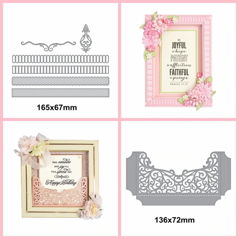 Box Ribbon&Pocket Lace Metal Cutting Die Craft Scrapbooking Template Paper Card Album Photo Making Handmade Decoration